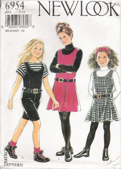 Girls' Dress & Shortalls Sewing Pattern Size 9-14 Simplicity New Look 6954 UNCUT