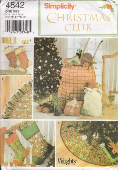 Christmas Holiday Decorating Sewing Pattern Simplicity 4842 UNCUT