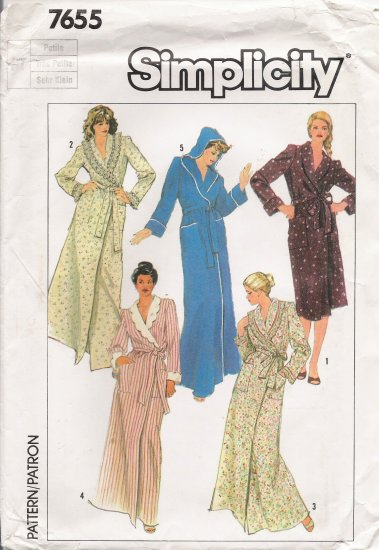 Misses' Shawl Collar Or Hooded Robe Sewing Pattern Size 6-8 Simplicity 7655 UNCUT