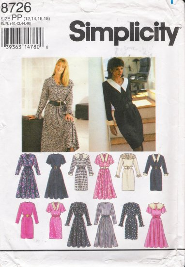 Misses' Dress Sewing Pattern Size 12-18 Simplicity 8726 UNCUT