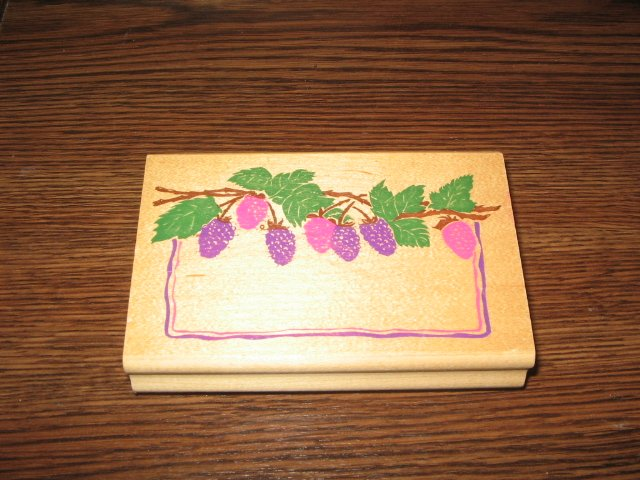 Raspberry Blackberry Label Wood Mounted Rubber Stamp by Posh Impressions