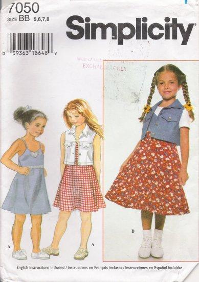 Child's Dress & Vest Sewing Pattern Size 5-8 Simplicity 7050 UNCUT