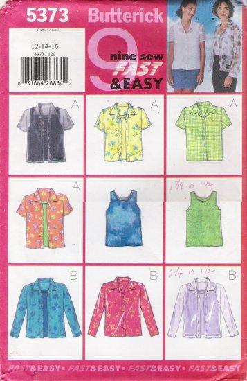 Misses' Shirt & Tank Top Sewing Pattern Size 12-16 Butterick 5373 UNCUT