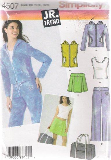 Juniors' Pants Top Jacket Skirt Tote Sewing Pattern 11/12-15/16 Simplicity 4507 UNCUT