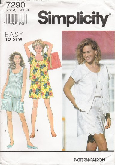 Misses' Shorts & Tops Sewing Pattern Size PT-LG Simplicity 7290 UNCUT