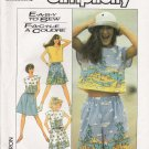 Misses' Top Shorts Skirt Sewing Pattern Size 10-12 Simplicity 8605 UNCUT