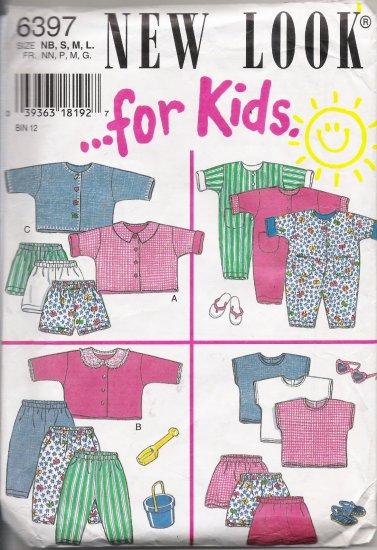 Infants' Tops Pants Shorts Jumpsuits Sewing Pattern Size NB-L Simplicity New Look 6397 UNCUT
