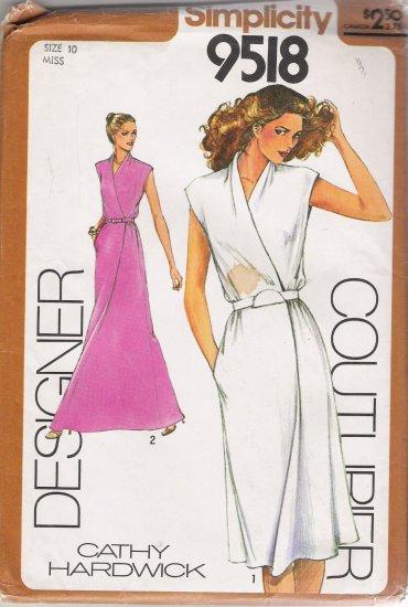 Vintage Sewing Pattern Misses' Mock-Wrap Dress Size 10 Simplicity 9518 UNCUT
