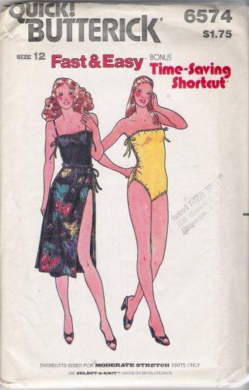 Vintage Sewing Pattern Misses' Swimsuit & Skirt Size 12 Butterick 6574 UNCUT