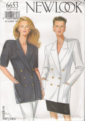 Misses' Jacket Sewing Pattern Size 8-18 Simplicity New Look 6653 UNCUT
