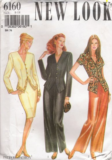 Misses' Jacket Skirt Trousers Sewing Pattern Size 8-18 Simplicity New Look 6160 UNCUT