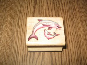 Dolphins Wood Mounted Rubber Stamp by All Night Media