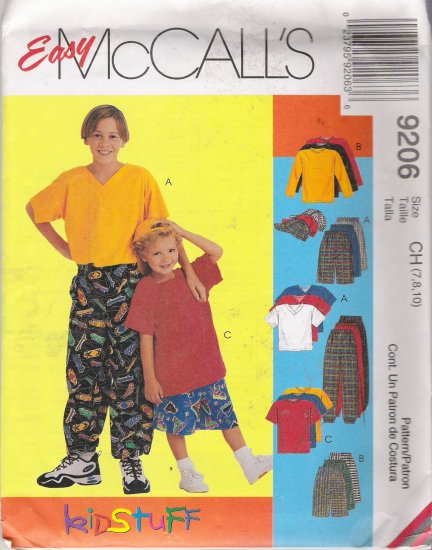 Children's & Boys' Shirt T-Shirt Pants Shorts Hat Sewing Pattern Size 7-10 McCall's 9206 UNCUT