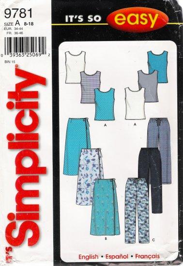Misses' Skirt Pants Top Sewing Pattern Size 8-18 Simplicity 9781 UNCUT