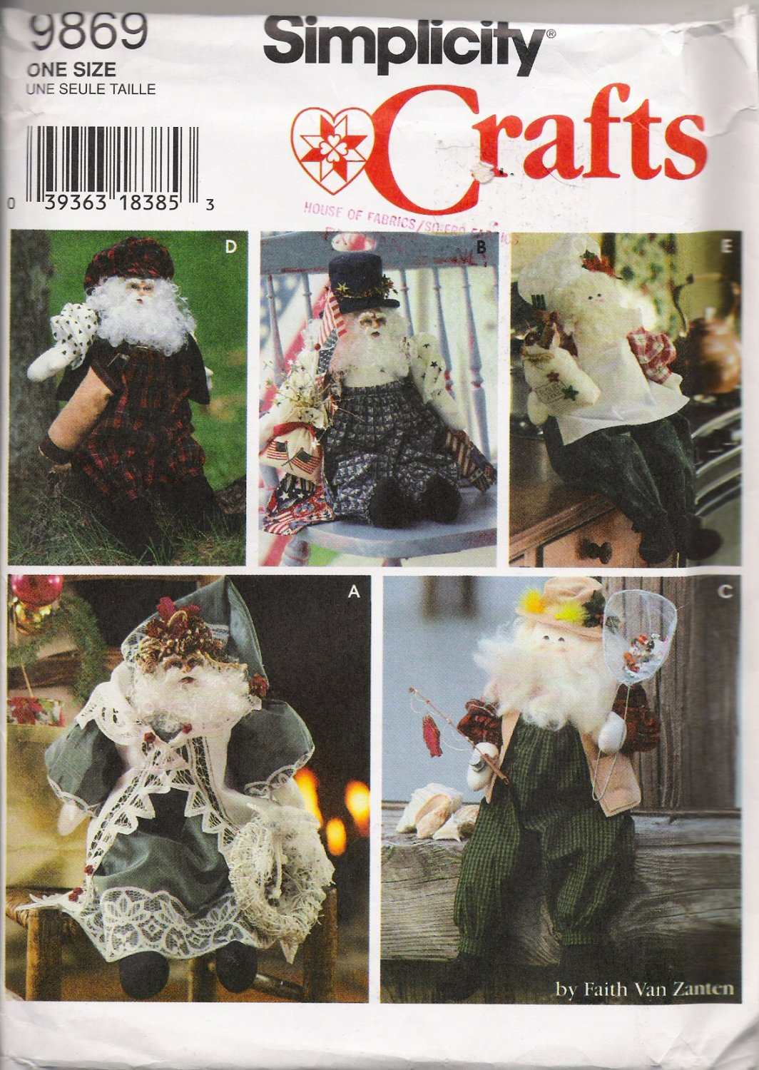 "21"" Santa Doll and Clothes Christmas Sewing Pattern Simplicity 9869 UNCUT"