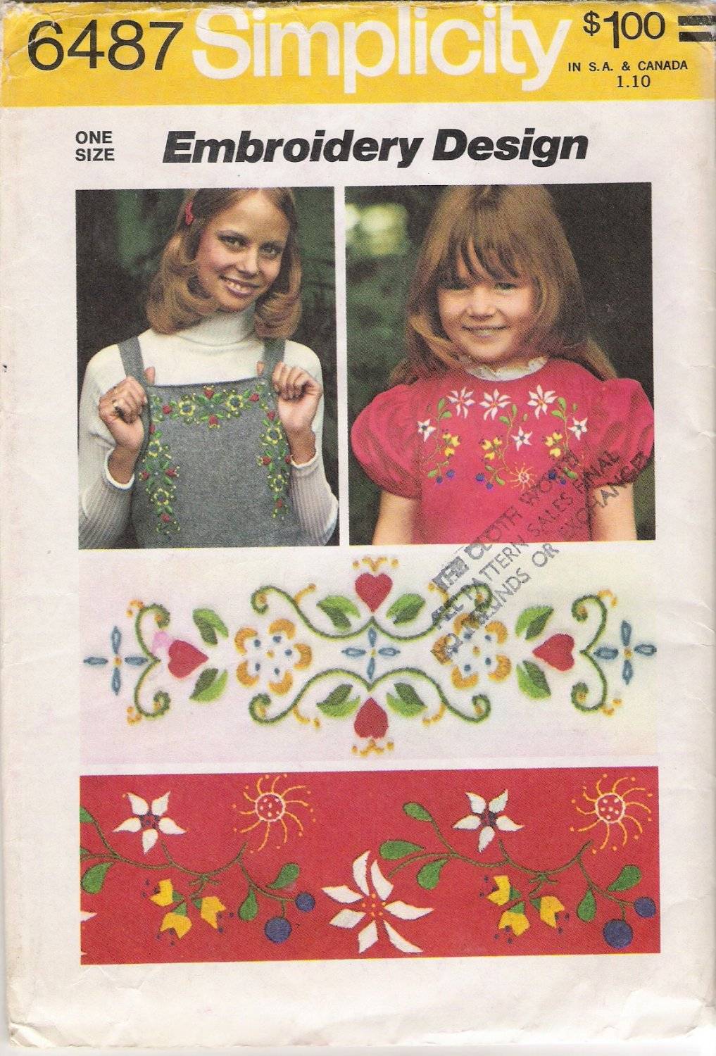 Vintage Floral Embroidery Transfers Pattern Simplicity 6487 UNCUT