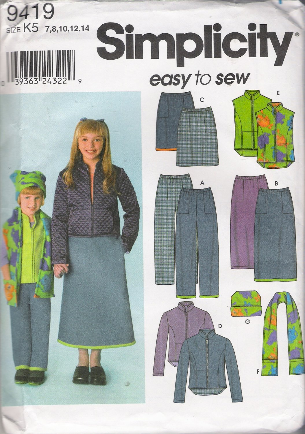 Child's & Girls' Pants Skirt Jacket Vest Scarf Hat Sewing Pattern Size 7-14 Simplicity 9419 UNCUT