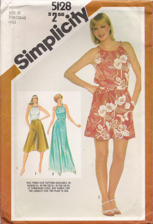 Vintage Sewing Pattern Misses' Culottes & Halter Top Size 10-14 Simplicity 5128 UNCUT