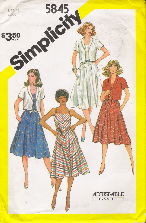 Vintage Sewing Pattern Misses' Sundress & Jacket Size 10 Simplicity 5845 UNCUT