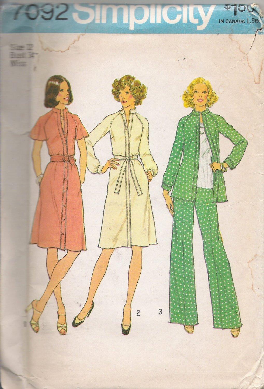 Vintage Sewing Pattern Misses' Dress Or Top & Pants Size 12 Simplicity 7092 UNCUT