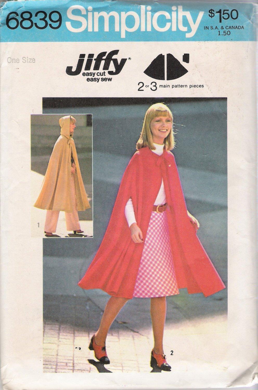 Vintage Sewing Pattern Misses' Cape Size 8-18 Simplicity 6839 UNCUT