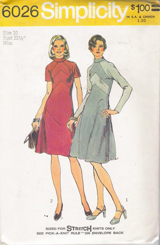 Vintage Sewing Pattern Misses' Dress Size 10 Simplicity 6026 UNCUT