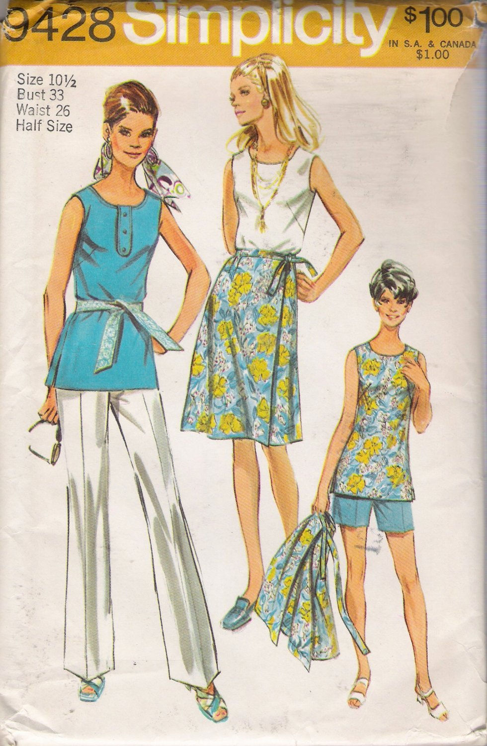 Vintage Sewing Pattern Misses' Pants Tunic Wrap Skirt Size 10.5 Simplicity 9428 UNCUT