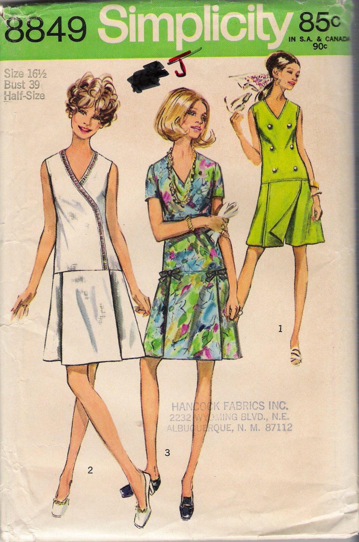 Vintage Sewing Pattern Pantdress In Women's & Half-Sizes Size 16.5 Simplicity 8849 UNCUT