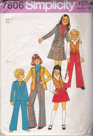 Vintage Sewing Pattern Girls' Jacket Vest Pants Skirt Size 7 Simplicity 7606 UNCUT