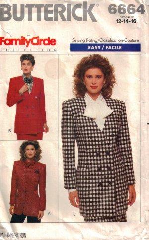 Misses' Jacket Sewing Pattern Size 12-16 Butterick 6664 UNCUT