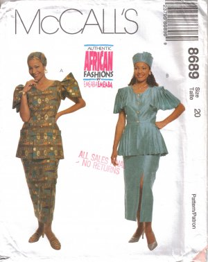Misses' Two Piece Dress, Hat & Headwrap Sewing Pattern Size 20 McCall's 8689 UNCUT