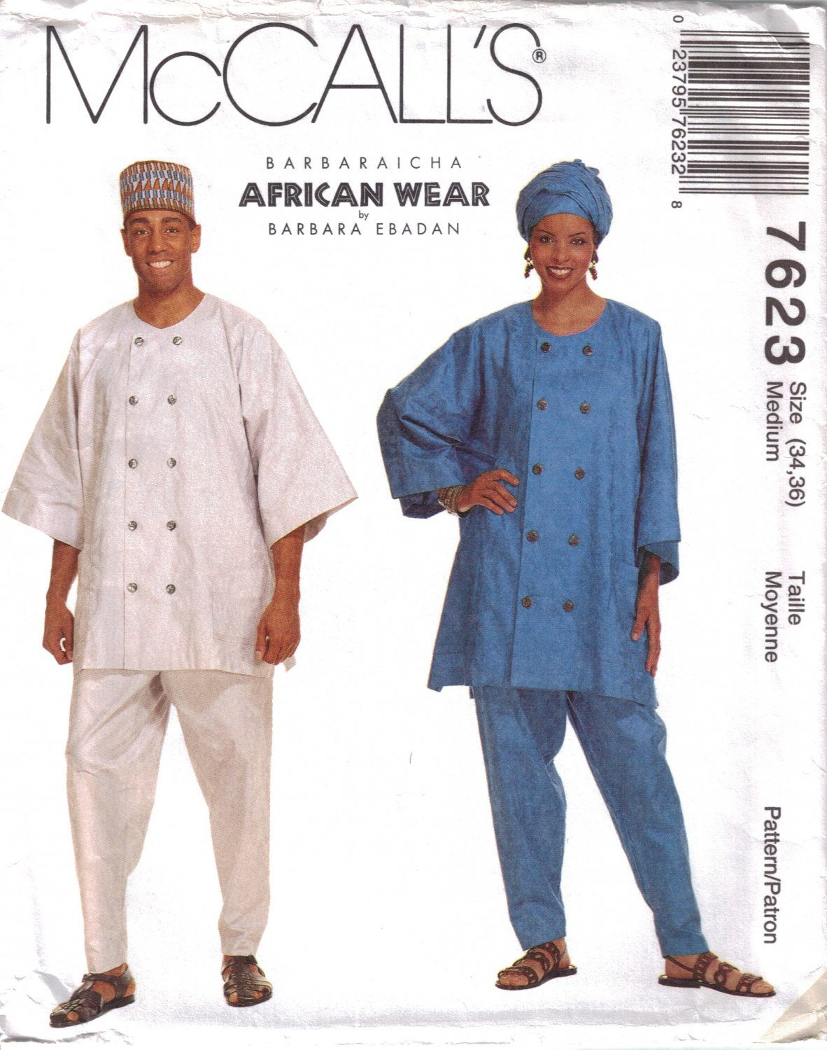 Misses' & Men's Top, Pull-On Pants & Headwrap Sewing Pattern Size 34-36 McCall's 7623 UNCUT