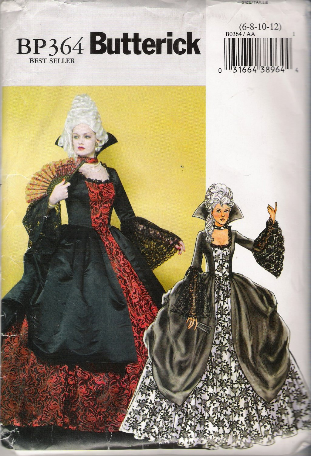 Misses' 18th Century Ball Gown Halloween Costume Sewing Pattern Size 6-12 Butterick BP364 UNCUT