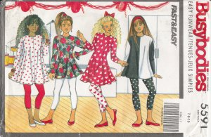 Girls' Dress, Top & Leggings Sewing Pattern Size 7-10 Butterick 5591 UNCUT