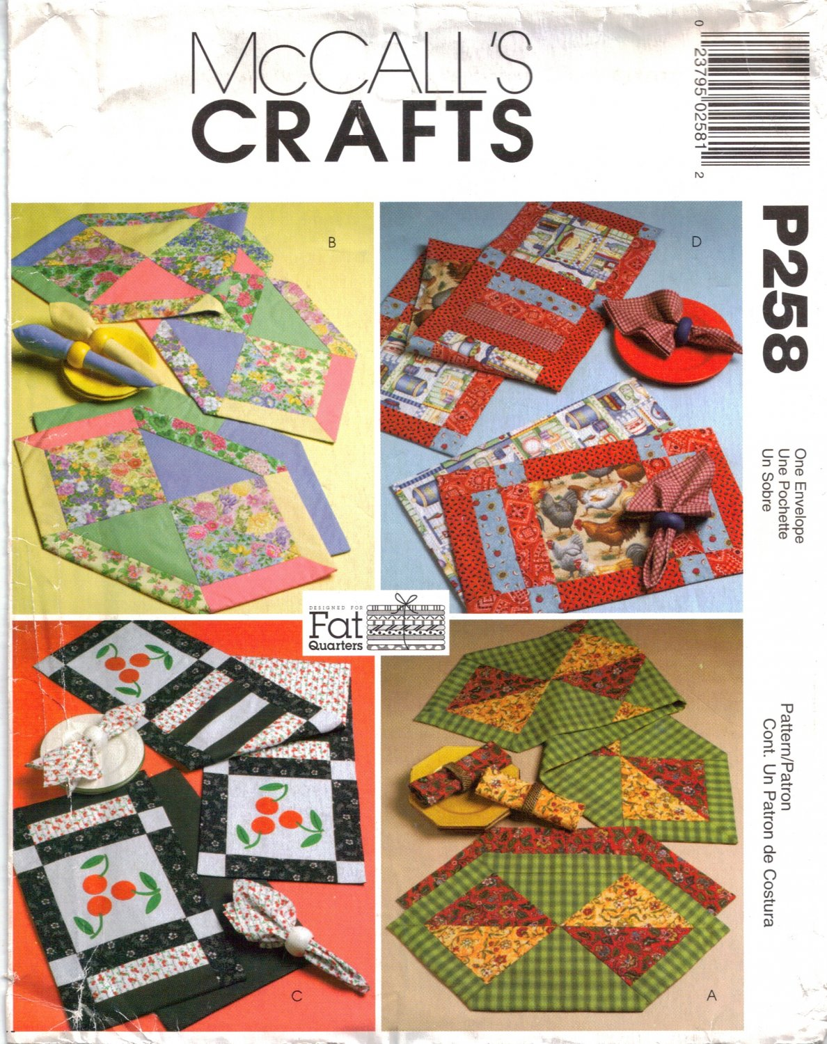 Fat Quarters Runners, Placemats & Napkins Sewing Pattern McCall's P258 UNCUT