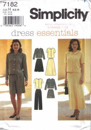 Misses' Top Skirt Pants Shorts Sewing Pattern Size 6-10 Simplicity 7182 UNCUT