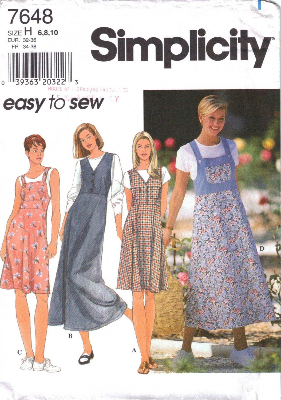 Misses' Jumper Sewing Pattern Size 6-10 Simplicity 7648 UNCUT