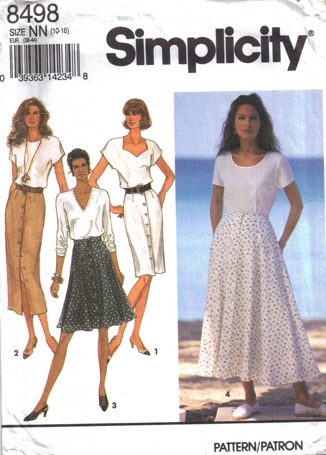 Misses' Slim or Flared Skirt Sewing Pattern Size 10-16 Simplicity 8498 UNCUT