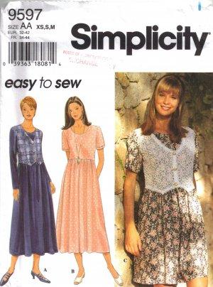 Misses' Dress Sewing Pattern Size XS-M Simplicity 9597 UNCUT