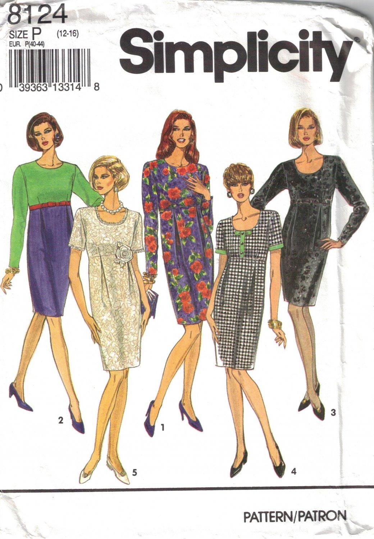 Misses' Dress Sewing Pattern Size 12-16 Simplicity 8124 UNCUT
