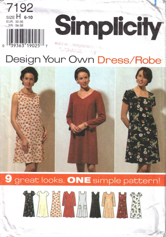 Misses' Dress Sewing Pattern Size 6-10 Simplicity 7192 UNCUT