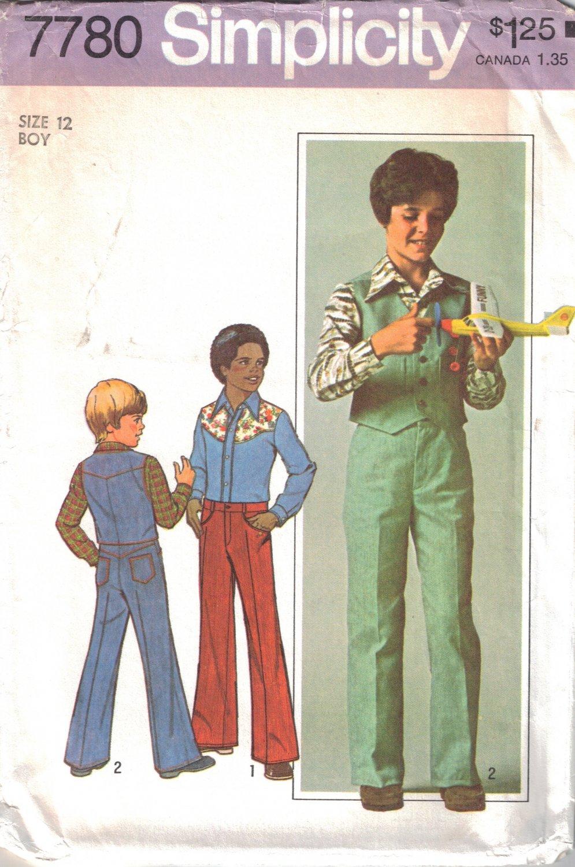 Vintage Sewing Pattern Boys' Vest, Shirt, Jeans Size 12 Simplicity 7780 UNCUT