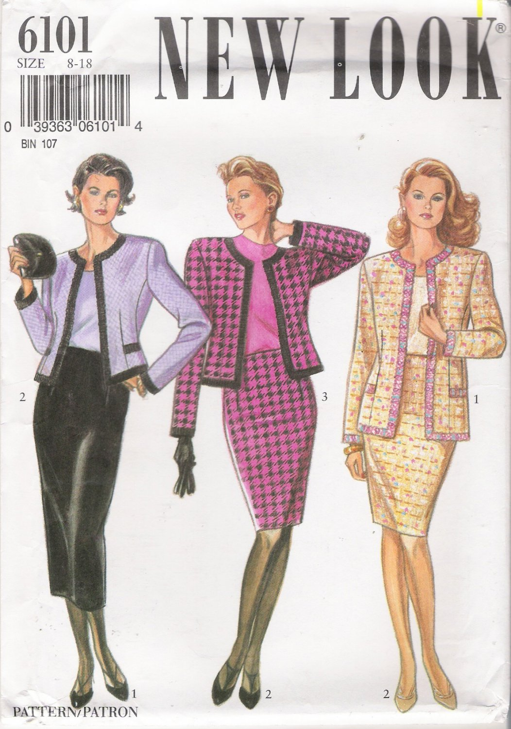 Misses' Jacket & Skirt Sewing Pattern Size 8-18 Simplicity New Look 6101 UNCUT