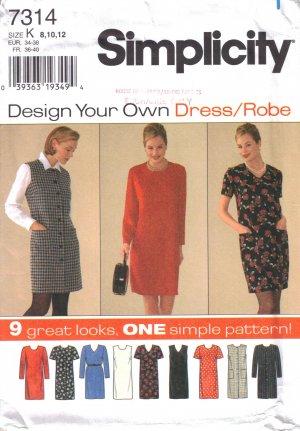 Misses' & Miss Petite Dress Sewing Pattern Size 8-12 Simplicity 7314 UNCUT