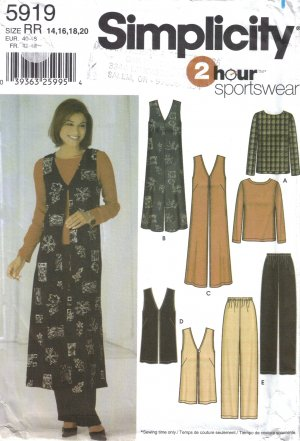 Misses' Top, Jumper, Vest, Pants Sewing Pattern Size 14-20 Simplicity 5919 UNCUT