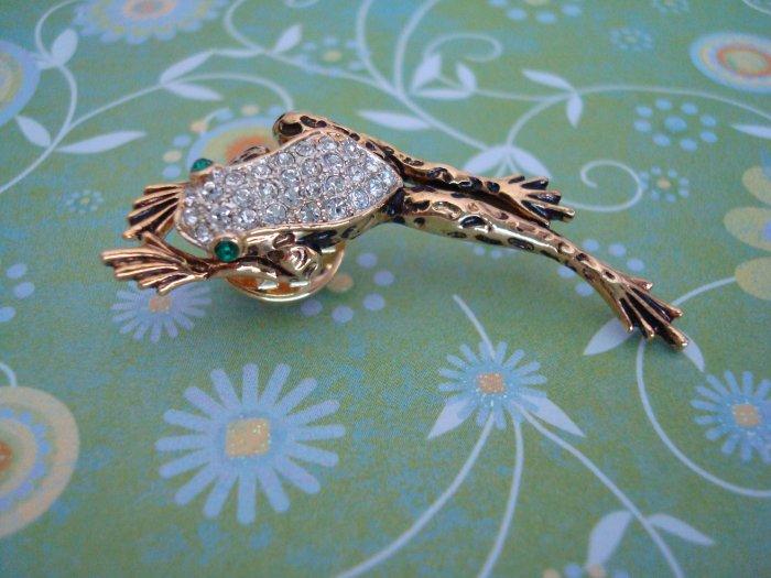 TREE FROG PIN/BROOCH Gold Color, Swarvoski Crystal Pin