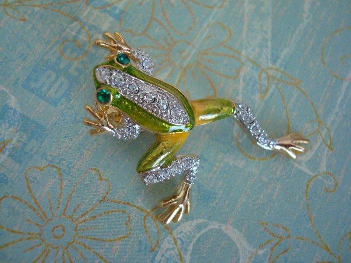 TREE FROG PIN/BROOCH, Green Frog, Swarvoski Crystal Pin