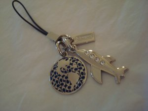 New, Collectible Coach Phone Lanyard, Silver and Blue, Rhinestones, Travel Charms
