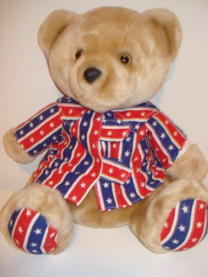 Brown Bear Red Blue White Stars On Shirt And Feet New
