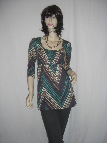 New Retro 70s Chevron Striped Boho Hippie babydoll Tunic Top S Small